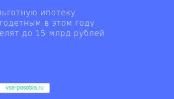 На льготную ипотеку многодетным в этом году выделят до 15 млрд рублей